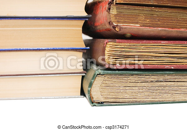 Pile of old books isolated on white background - csp3174271