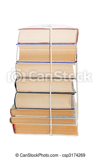 Pile of old books isolated on white background - csp3174269