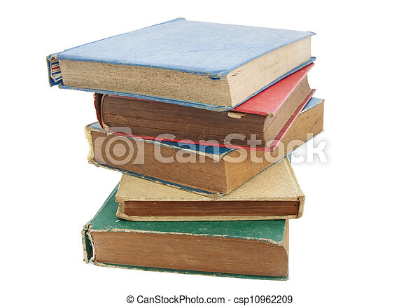 Pile of old books isolated on white background - csp10962209