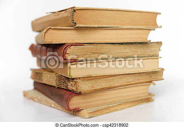 pile of old books isolated on white background - - csp42318902