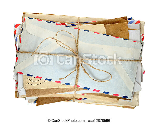 Pile of old envelopes isolated on white background - csp12878596