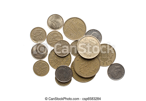Pile of old spanish coins - csp6583284