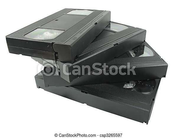pile of old video cassetes isolated over white - csp3265597