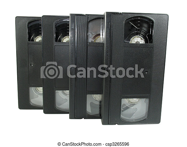 pile of old video cassetes isolated over white - csp3265596