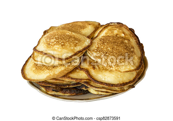 pile of pancakes on a plate isolated on white - csp82873591