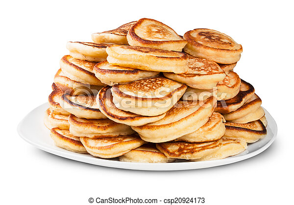 Pile Of Pancakes On A White Plate Rotated - csp20924173