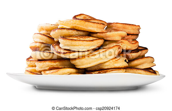 Pile Of Pancakes On A White Plate - csp20924174