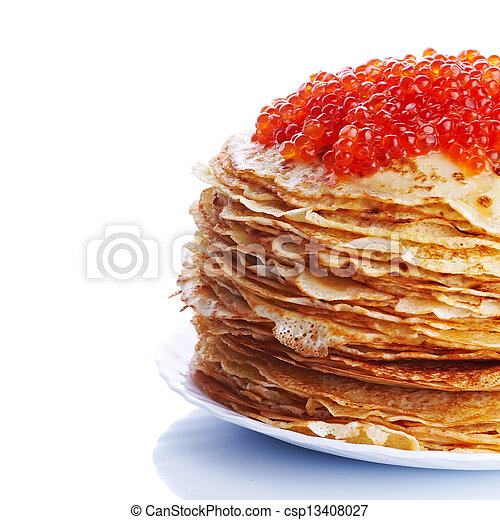 Pile of pancakes with red caviar - csp13408027