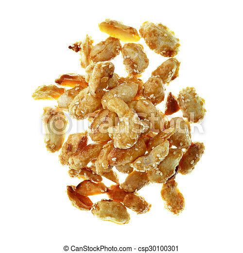 pile of peanuts isolated on white background - csp30100301