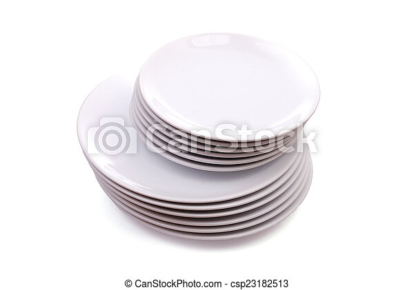 Pile of red and white plates - csp23182513