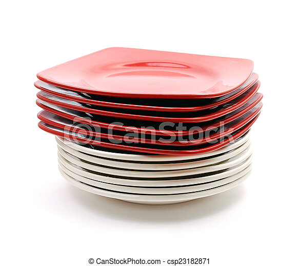 Pile of red and white plates - csp23182871