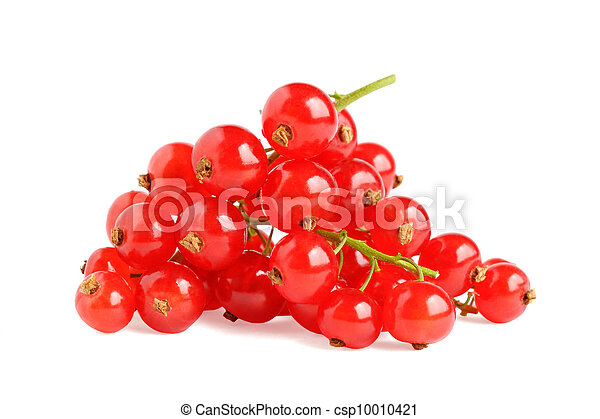 Pile of red currant isolated on white background - csp10010421