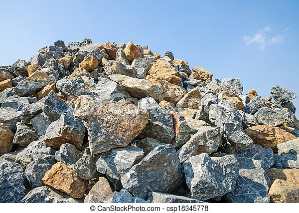 Pile of rocks. for construction.  - csp18345778