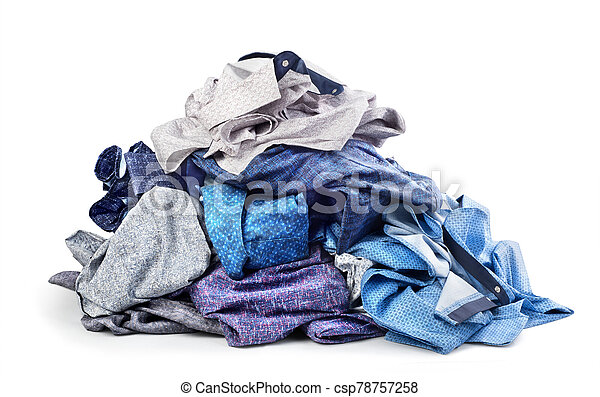 Pile of shirts isolated on white background - csp78757258
