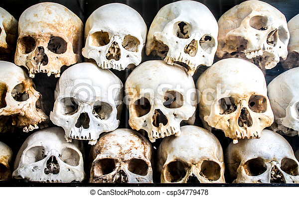 Pile of skeleton heads laid on top of each other. Pile of skeleton ...