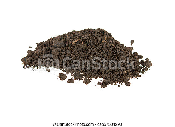 pile of soil, earth on white background - csp57504290
