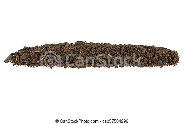 pile of soil, earth on white background - csp57504296
