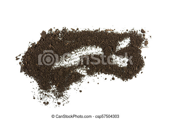 pile of soil, earth on white background - csp57504303