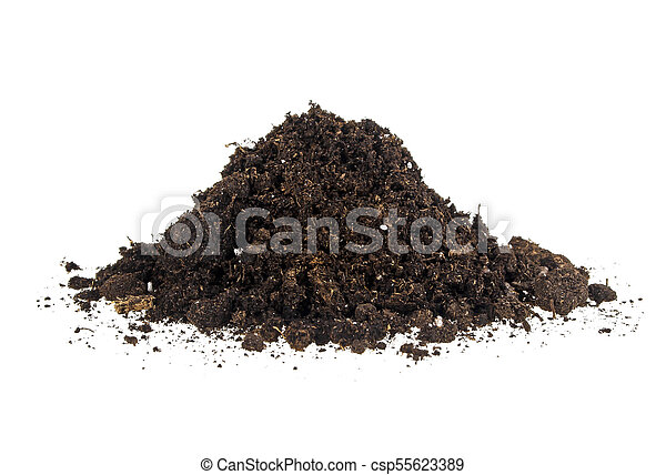 Pile of soil isolated on a white background - csp55623389