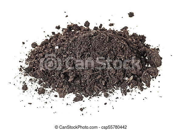 Pile of soil isolated on a white background - csp55780442