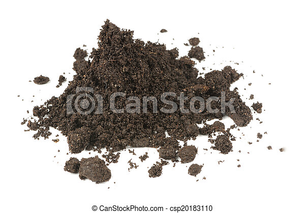 Pile of Soil Isolated on White Background - csp20183110