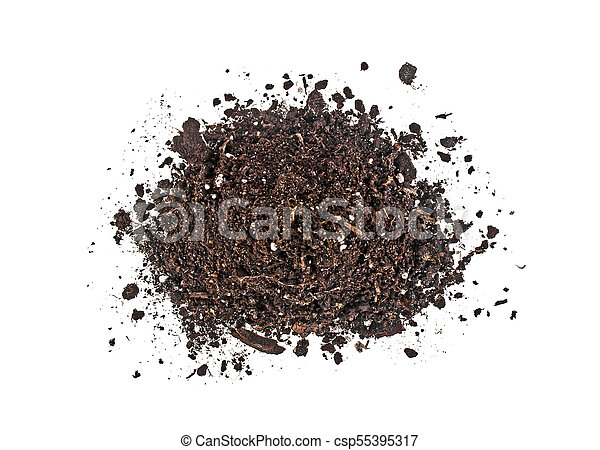 Pile of soil isolated on white background, top view - csp55395317