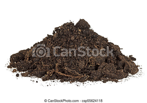 Pile of soil isolated on white background - csp55624118