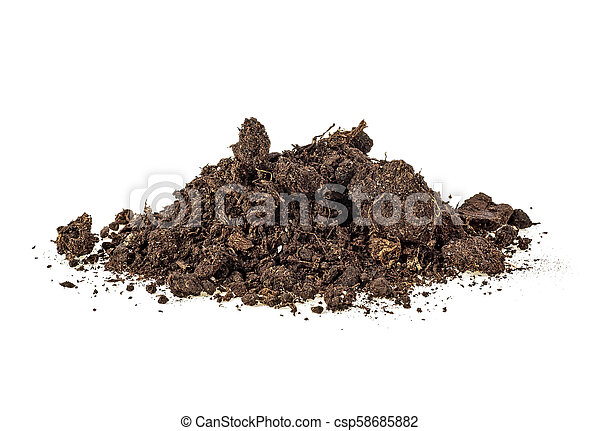 Pile of soil isolated on white background - csp58685882