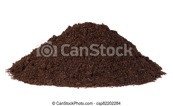 Pile of soil isolated on white background - csp82202284