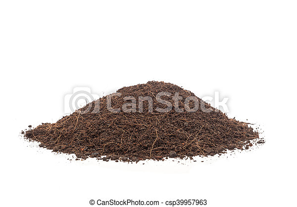 Pile of soil isolated on white background - csp39957963