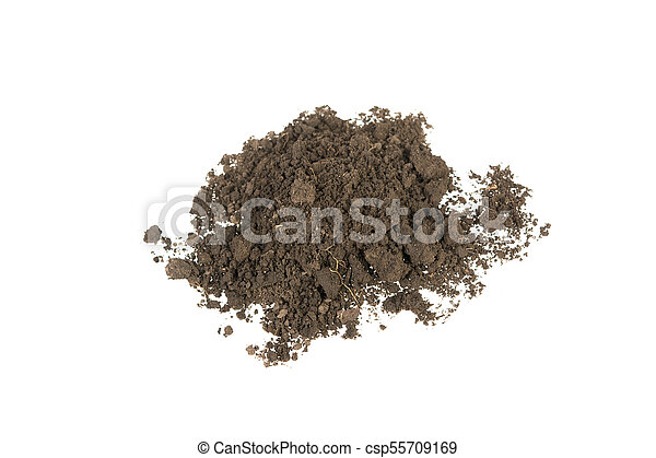 Pile of soil isolated on white background - csp55709169