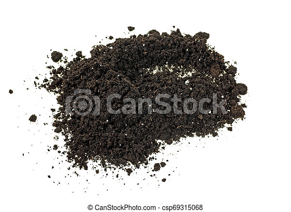 Pile of soil isolated on white background - csp69315068