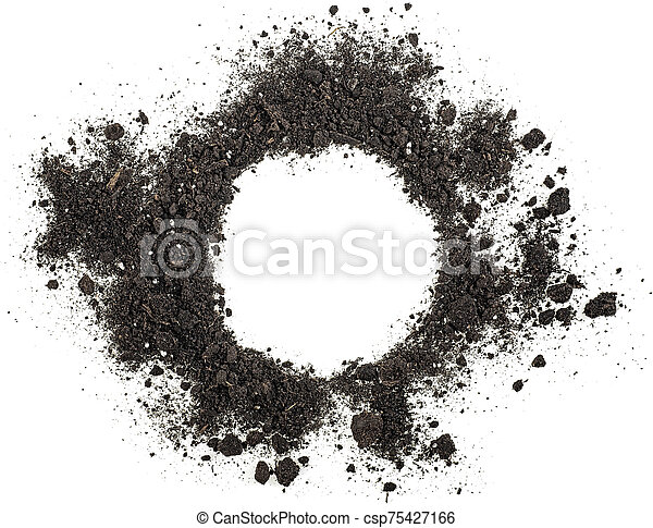 Pile of soil isolated on white background, top view. - csp75427166