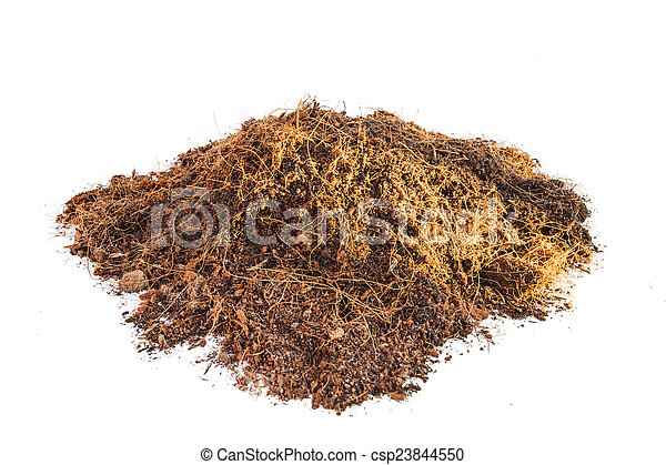 Pile of soil isolated on white background - csp23844550