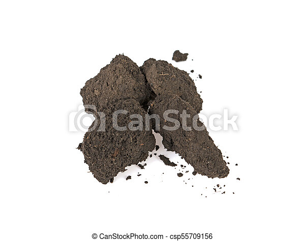 Pile of soil isolated on white background - csp55709156