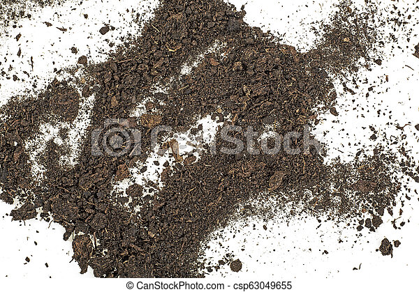 Pile of soil isolated on white background, top view. - csp63049655