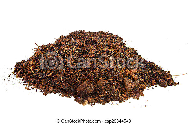 Pile of soil isolated on white background - csp23844549