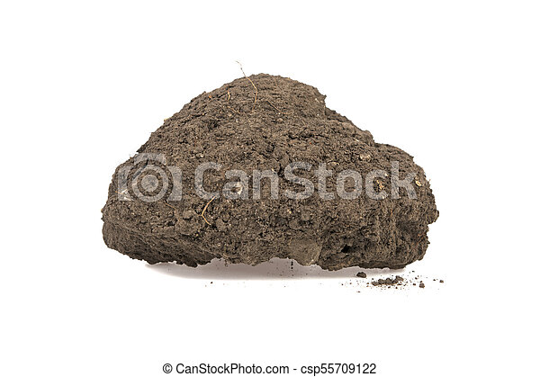 Pile of soil isolated on white background - csp55709122