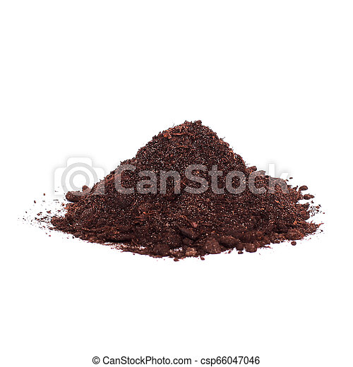 Pile of soil isolated on white background - csp66047046