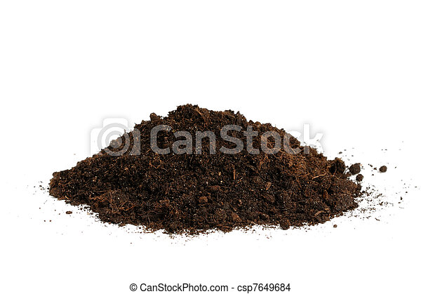 Pile of soil isolated on white background - csp7649684