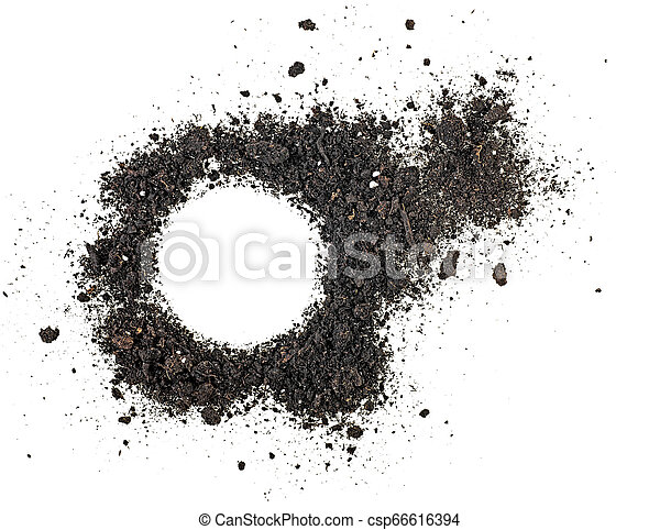 Pile of soil isolated on white background, top view. - csp66616394