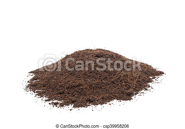 Pile of soil isolated on white background - csp39958206