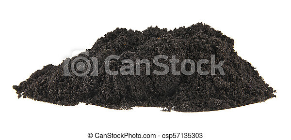 pile of soil isolated on white background - csp57135303
