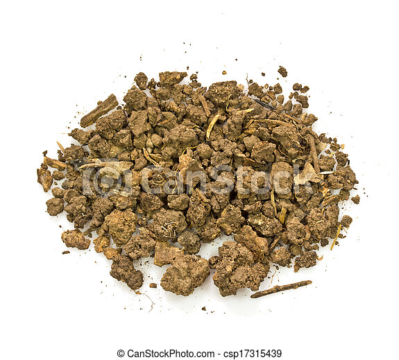 Pile of soil isolated on white background - csp17315439