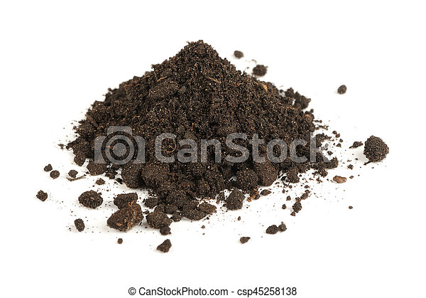 Pile of Soil Isolated on White Background - csp45258138