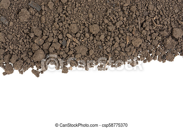pile of soil on a white background - csp58775370