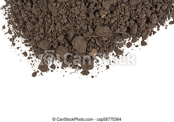 pile of soil on a white background - csp58775364
