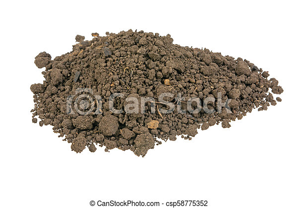 pile of soil on a white background - csp58775352