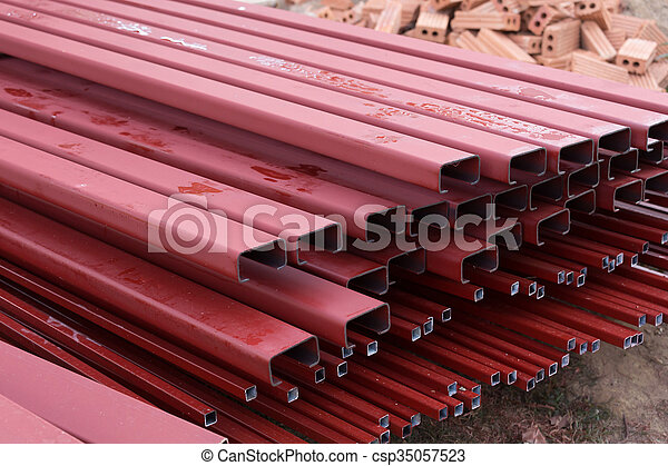 pile of steel bar for building construction - csp35057523
