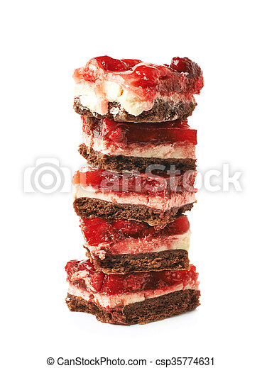 Pile of strawberry cakes slices isolated